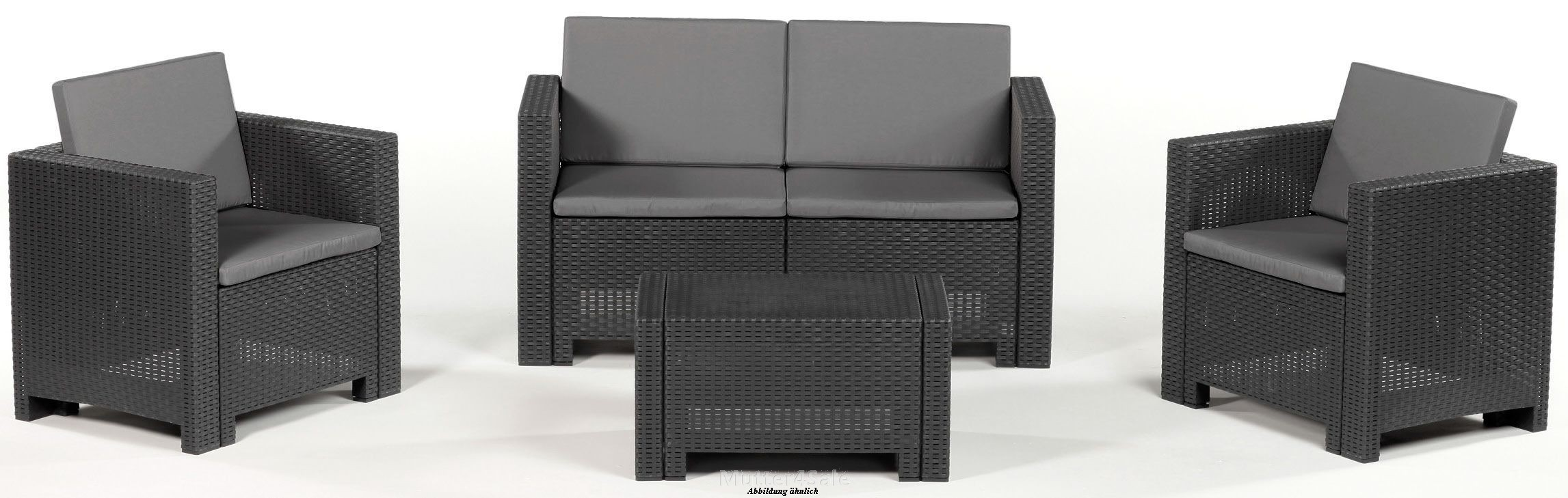 allibert sitzgruppe cannes lounge set gartenm bel poly rattan grau braun ebay. Black Bedroom Furniture Sets. Home Design Ideas