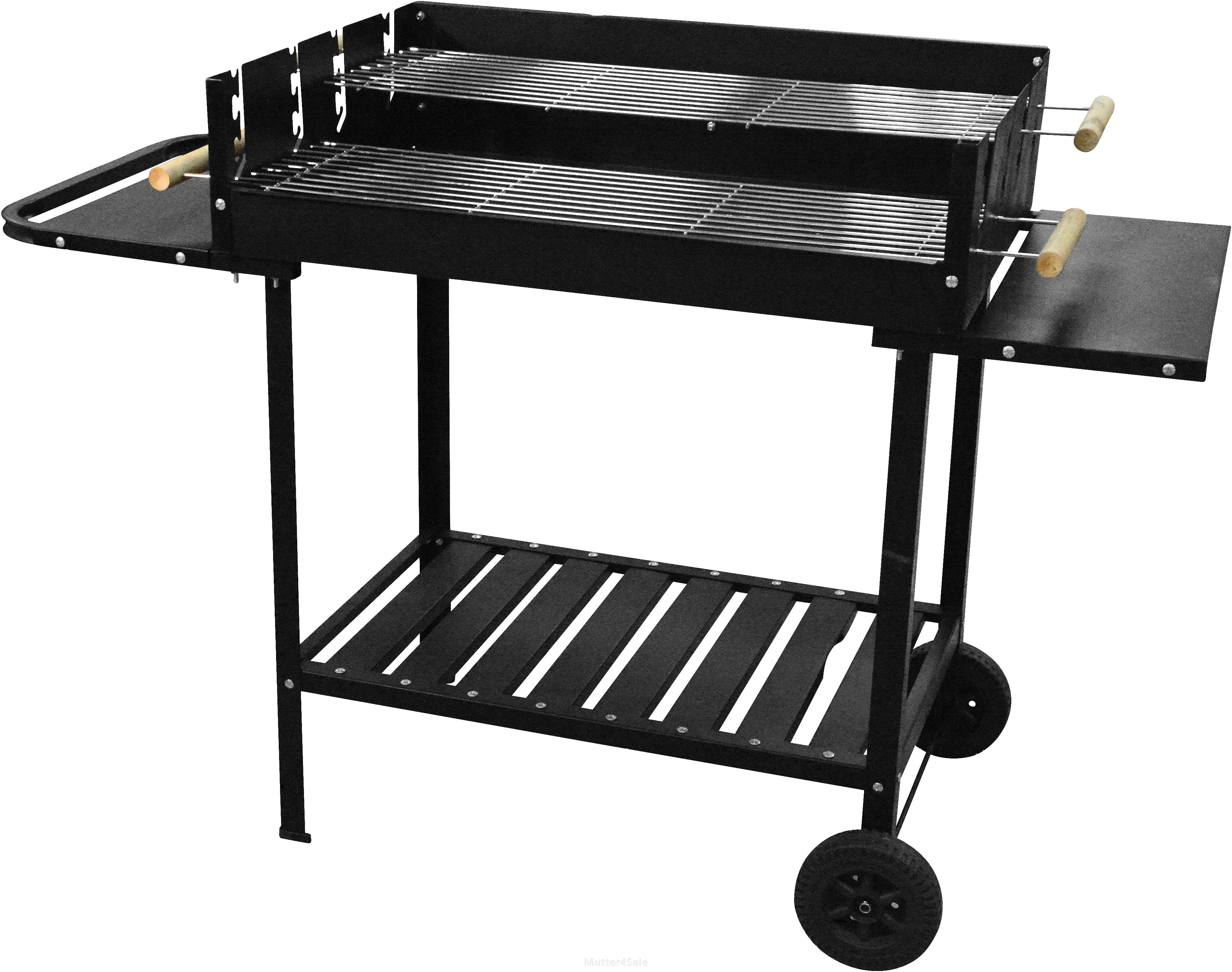 holzkohlegrill grillwagen grill eckig holzkohle standgrill edelstahl jumbo bbq ebay. Black Bedroom Furniture Sets. Home Design Ideas